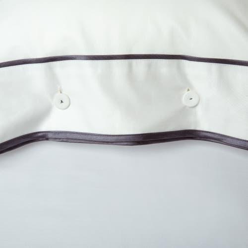 Coleção Monaco. Roupa de Cama de Algodão Egípcio. Tecido Cetim de 550 Fios - Cordão Antracite - Capa de Almofada com Botões